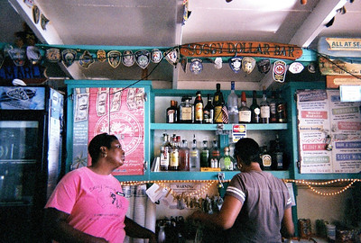 jost van dyke island, British Virgin Islands, Soggy Dollar Bar, see the bills hanging to dry. soggy dollar bar 2010