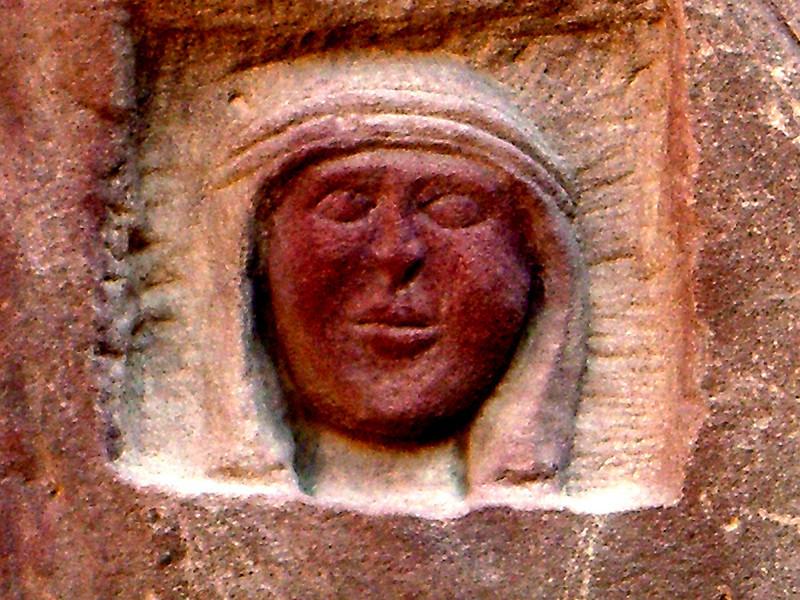 Wadi Rum Jordan carving of Lawerence of Arabia in stone,