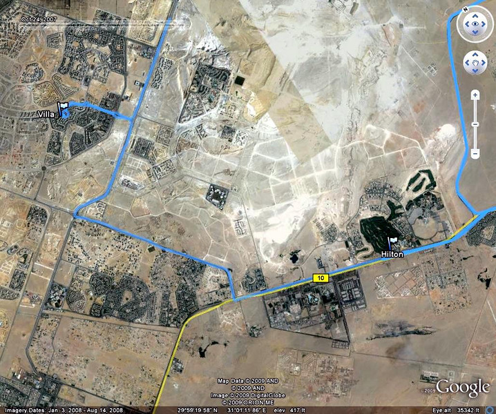 GPS map made with a Garmin, of the home visit in Cairo, Egypt.