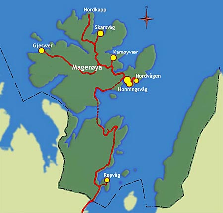 Nordkapp (North Cape) map