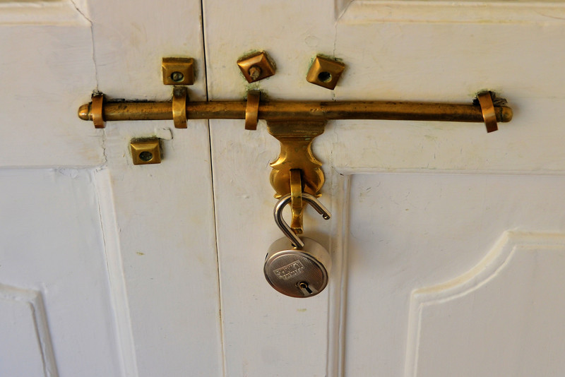 unique door and lock at the Hotel near Ranthambore park, India