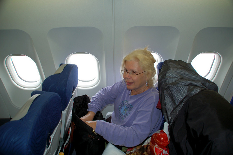 Betty getting ready for the Germany, Slovakia part of the trip for the next 2 weeks at the end of April 2006 Airbus 320 berber