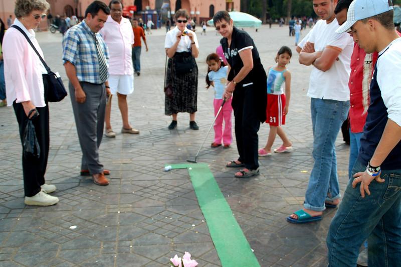 Djemaa el Fna Square golf game  Marrakesh berber