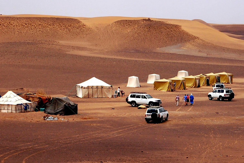 our tent camp in the sahara desert the large tent is the food tent