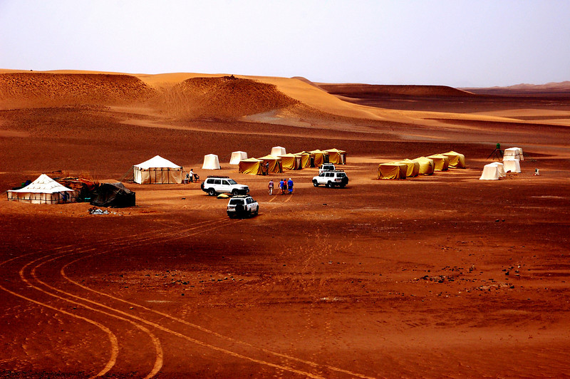 our tent camp in the sahara desert, the large tent is the food tent