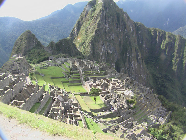 at the sun gate over machu piccu UNESCO WORLD HERITAGE SITE