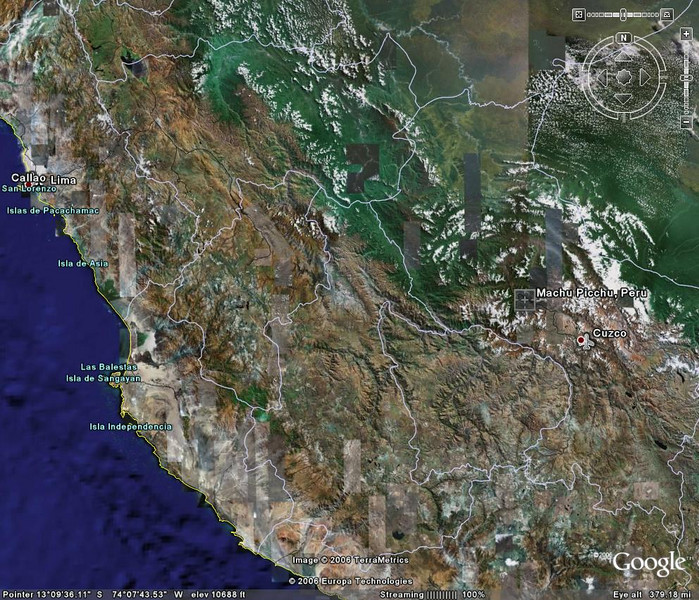 google earth map of maccu piccu, lima and cuzco machu pichu see it better in origional size.