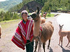 posing with llama