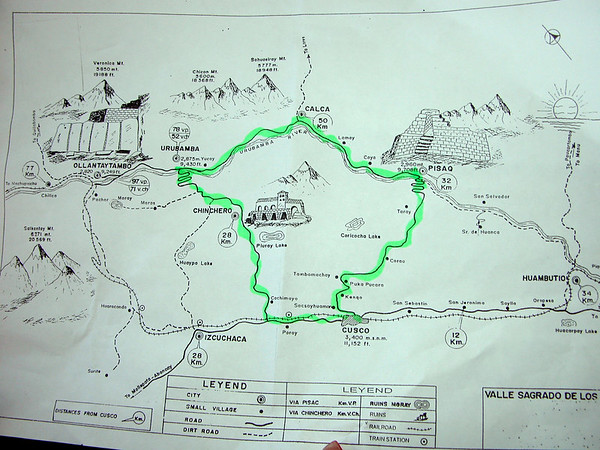 map of bus part of OAT tour through Peru machu pichu