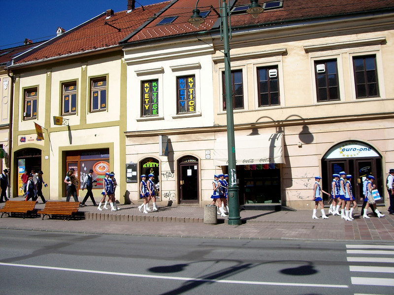 Presov getting ready for parade in the down town Presov, Slovakia
