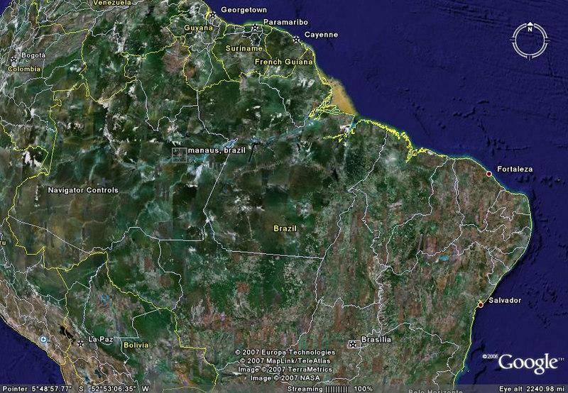 Google map of Brazil showing Manaus