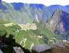 at the sun gate 1000 feet above machu piccu ruins. Looking back toward Machu Pichu. UNESCO WORLD HERITAGE SITE