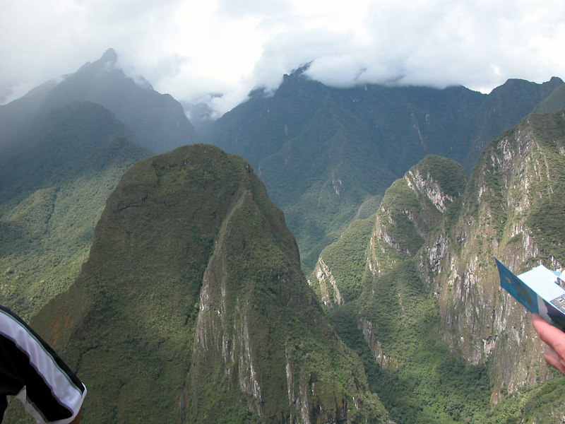 in the clouds 1000 feet over macu pichu UNESCO WORLD HERITAGE SITE