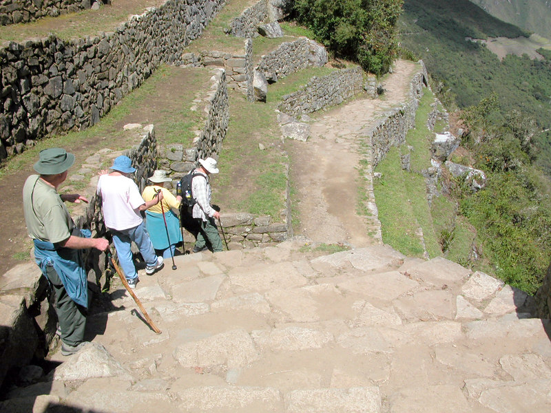 trecking down from sun gate to machu piccu UNESCO WORLD HERITAGE SITE