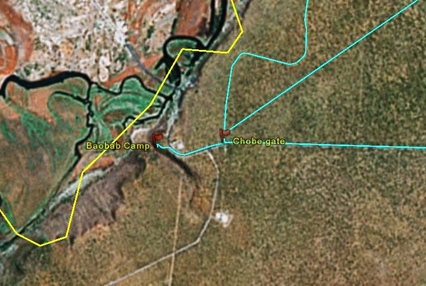 gps map of the Baobab camp and the chobe gate. Blue line was our trail. The yellow line is the intenational boarder. I carried a Garmin CSX to record our travel paths.