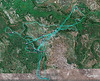 Caprivi Camp in Mudumu National Park GPS, Blue lines made by gps shows the game drives at this camp.