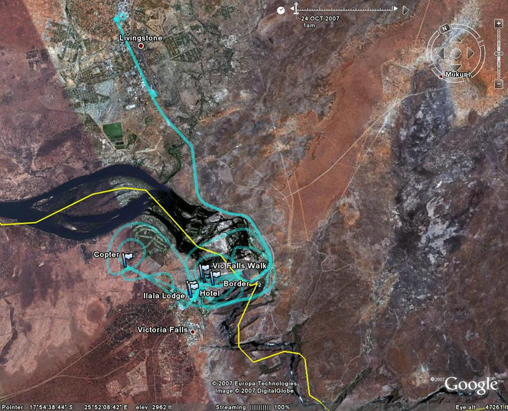 gps map of victoria falls with trip to Livingstone museum.  The circle patterns were made from the helicopter flights over the falls. Zimbabwe is on the left of the yellow line, Nanibia on the right. Our trip to Livingstone town and museum show on the top of the map.