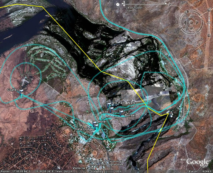 circular lines show path of the helicopter path over the falls made with a gps