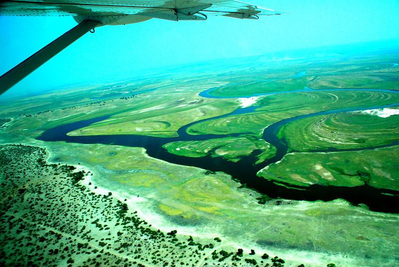AERIAL VIEW OF THE OKAVANGO DELTA, AFRICA