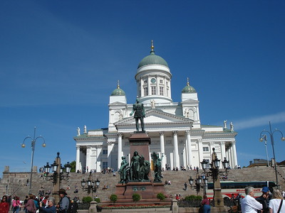 Summer tourist flock to Senate Square and the Helsinki Cathedral.