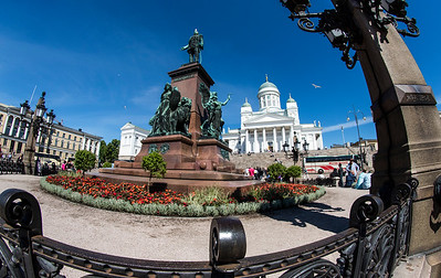 Senate Square has four main buildings:  Helsinki Cathedral, University of Helsinki, the Government Palace and the National Library of Finland.