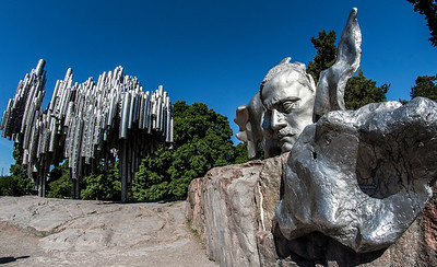 Famous composer Jean Sibelius' (1865-1957) monument by Eila Hiltunen is located in Sibelius Park. The Monument, resembling organ pipes, is made of welded steel with the bust of the composer on one side.