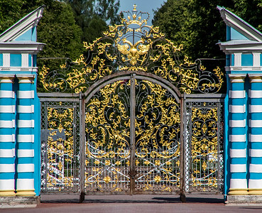 The Winter Palace gates show the royal two-headed eagle symbol.