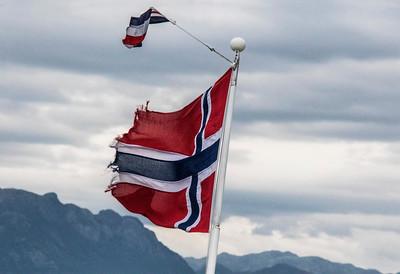Norwegian flag in the fjord near Stavanger.