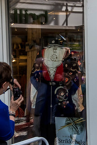 One of the old traditional costumes is displayed in a gift store in Stavanger.