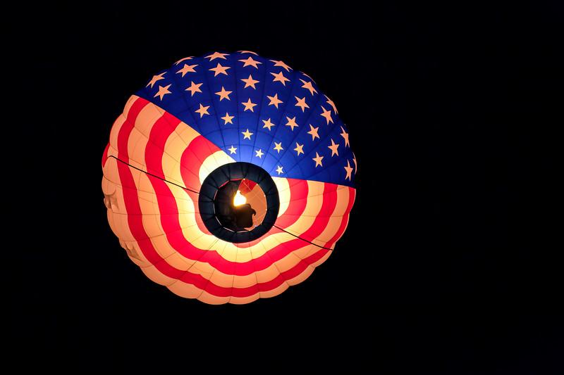 Stars & Stripes Balloon Rising Pre-Dawn WM - John O'Neill Photography
