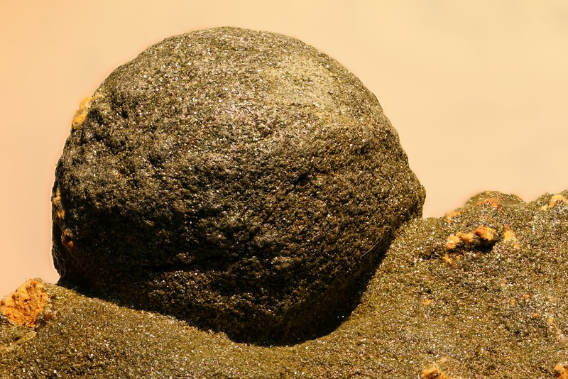February 11 2015  Chlorite encrusted stilbite sphere from the Aosta Valley of Italy
