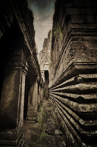 Under the temple.