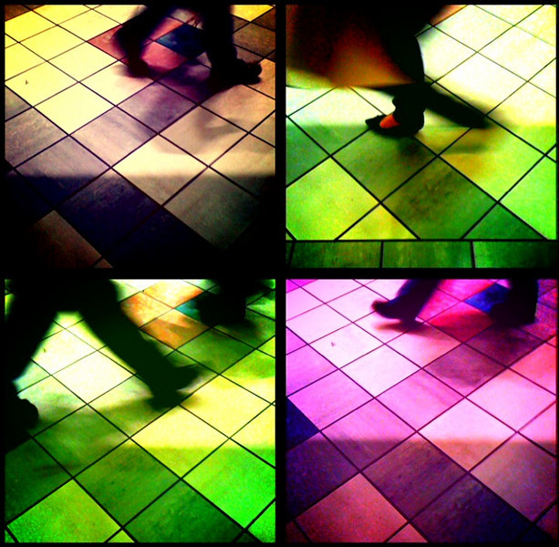 "Scenes from a mall<br /> A daily photo on 12/13/09<br /> While waiting from my wife outside a ""candle shop"" last night, the pattern of the floor tiles caught my eye, then the hustle and bustle of fellow shoppers which made for some interesting abstracts.<br /> Captured with an iPhone and processed in an app called Lofi."