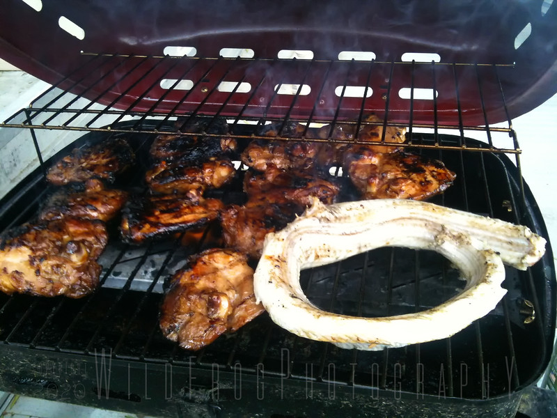 Rattlesnake and chicken for lunch - BBQ