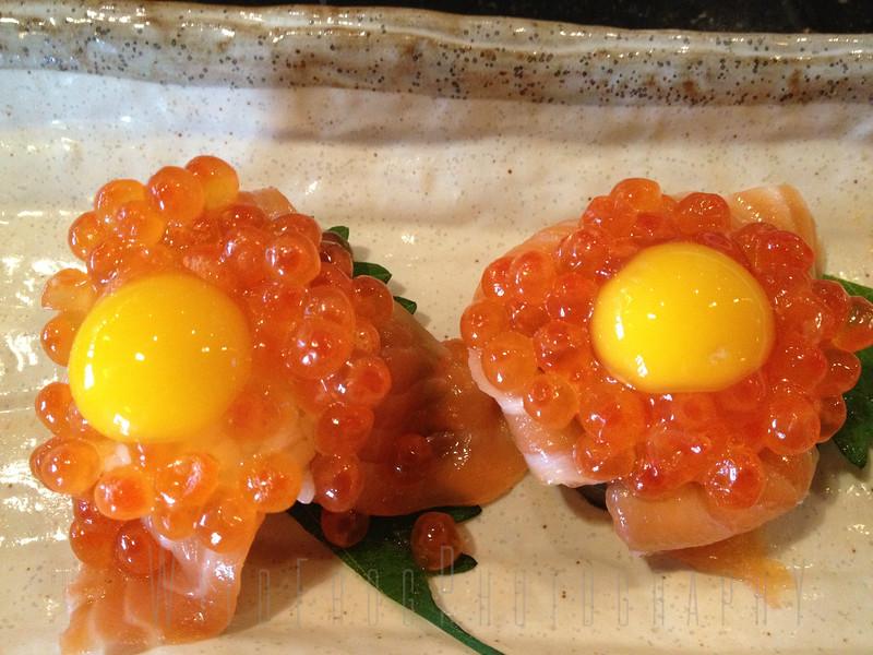 Salmon Eggs - Helabut with Quail egg on top