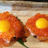 Salmon Eggs - Helabut with Quail egg on top