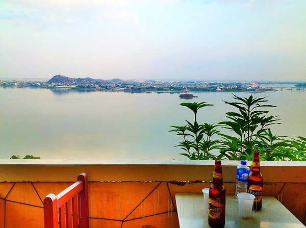 Cold beer time near the top of Santa Ana Hill - Guayaquil