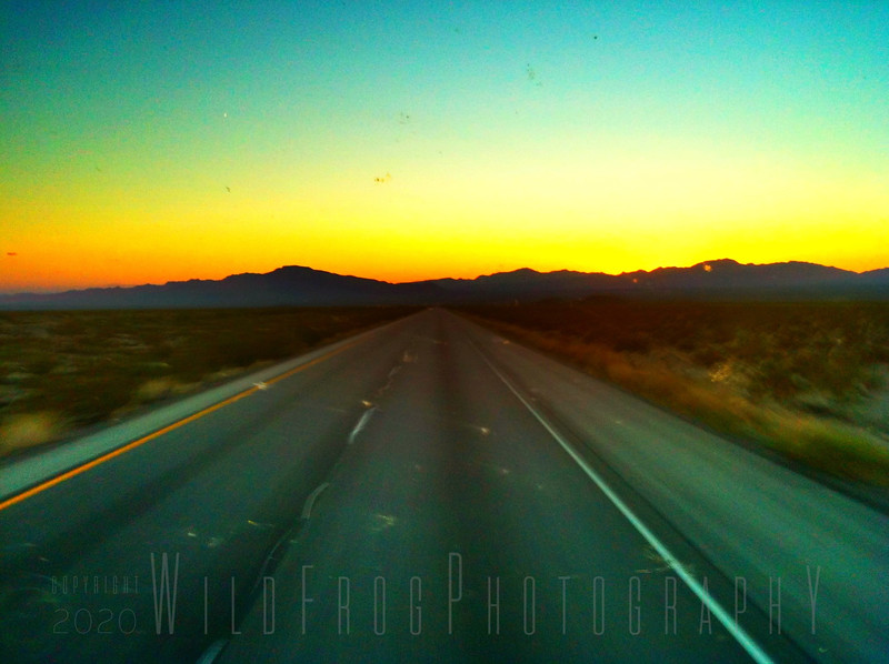 Route 66 - driving into sunset