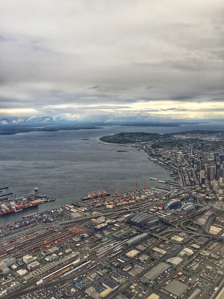 Looking down onto Seattle WA