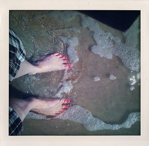 My cute toes in the water and sand of the Atlantic Ocean.  And I'm very peaceful.