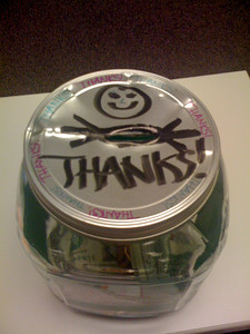 """This is my """"Change the Prognosis for PKD"""" jar where I'm collecting change for my walk in September.  I took a plain jar from Target, decorated it up, and managed to punch a hole in the top of the lid for change to get in!"""