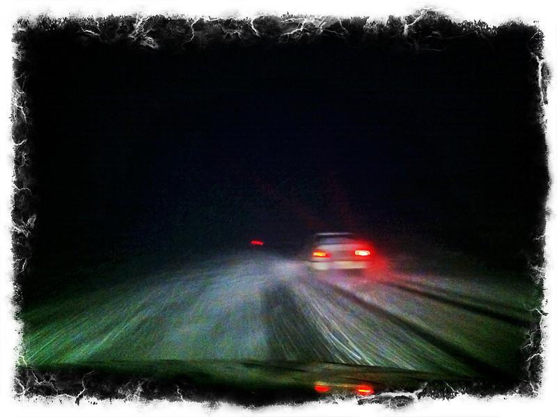 Drifting snow during night - Tashkent to Asaka