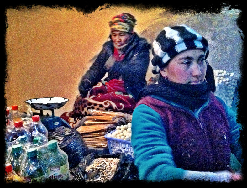 Curd balls and snacks at roadside up in mountains - Asaka to Tashkent