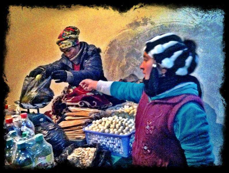 Curd balls and snacks at roadside up in mountains - Asaka to Tashkent