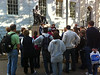 """Hahvahd"" Tour in progress, stopping at the statue of John Harvard.  Whatever you do, don't touch the toe!"