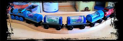 ~ Thomas the Tank Engine hauling part of the Sodda Aquarium ~  Kyler's 2nd Birthday!