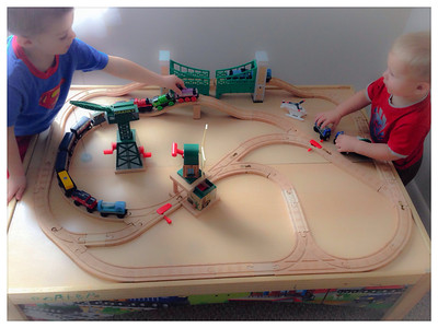 ~ Playing With Trains Before Work ~ Look at this crazy layout. I I finally managed to connect everything!