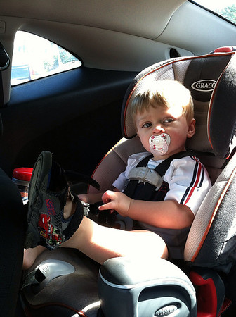 Kyler waiting in the Camaro for Mommy