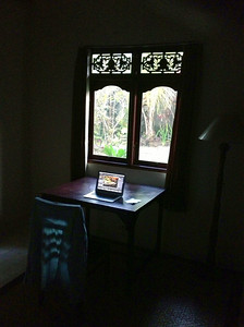 Processing photos at my desk in Bali