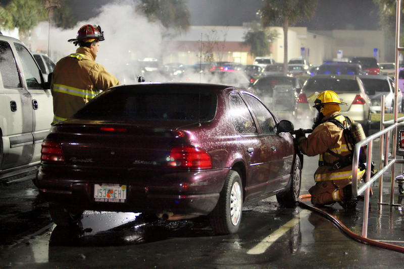 Car fire K Mart parking lot